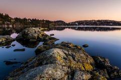 Troldhaugen solnedgång, Norge, Bergen Arkivfoton