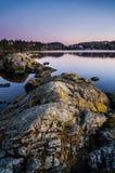 Troldhaugen solnedgång, Norge, Bergen Arkivbilder
