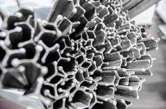 Trole de aço inoxidável para salsichas de fumo Fábrica industrial Imagem de Stock
