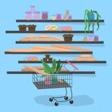 Trole no supermercado perto das prateleiras com ilustração do vetor do pão ilustração stock