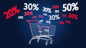 Trole vermelho e branco e disconto das vendas - 3d rendem Fotos de Stock