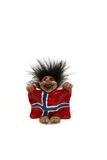 Troll. Figurine of smiling troll hanging a flag at his arms isolated on a white, norway Stock Images