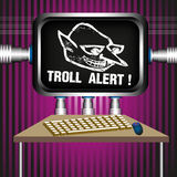 Troll alert. Colorful illustration with a troll alert sign on a computer screen. Internet trolling concept Royalty Free Stock Photos