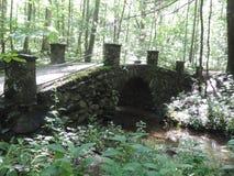 Troll bridge. Beautiful stone Troll Bridge hidden in the forest Stock Photo