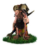 A troll carrying big ancient book walking on the grass field Stock Photography