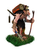 A troll carrying big ancient book walking on the grass field Royalty Free Stock Images