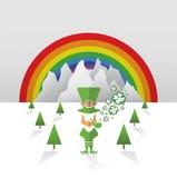 Troll med regnbåge- och treklövervektorn Royaltyfria Bilder
