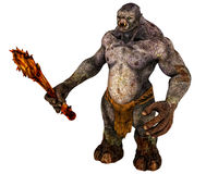 Troll Monster with weapon. Scary evil Troll demon with dangerous club in his giant hands. Rich texture. Isolated on white background. Clip art cutout Royalty Free Stock Photo