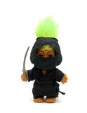 A Troll-Ninja. Small troll-ninja with a sword, isolated on white background Stock Images