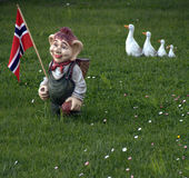 Troll with Norwegian Flag stock image