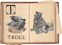 Troll. Open book with letter T with Troll Stock Photo