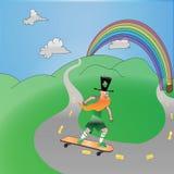 Troll på skateboarden royaltyfri illustrationer
