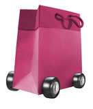 Troll paper bag. Pink paper bag with wheel on white background Royalty Free Stock Photo