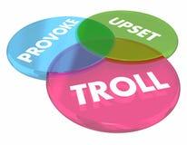 Troll provoca Venn Diagram Internet Comments turbato 3d Illustrati Fotografie Stock Libere da Diritti