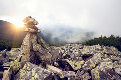 Troll - Pyramid of stones. Troll - Pyramid made of stones in the norway stock photo