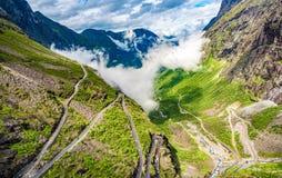 Troll`s Path Trollstigen or Trollstigveien winding mountain road. In Norway Royalty Free Stock Photography