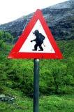Troll warning sign. Public traffic sign near the famous tourist road Trollstigen in western Norway. Trollstigen is an official tourist route Stock Photo