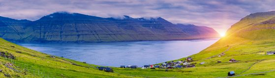 Trollanes Village, Kalsoy Island, Faroe Islands, Sunrise Over Mountains