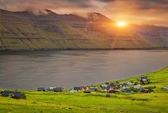 Trollanes Village, Kalsoy Island, Faroe Islands, Sunrise Over Mountain