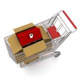 trolle дома картона коробки открытое стоящее Стоковое Фото