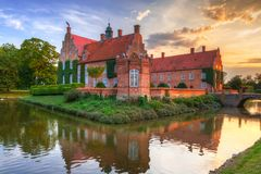 Trolle-Ljungby Castle in southern Sweden. Architecture ot the Trolle-Ljungby Castle in southern Sweden at sunset Stock Images