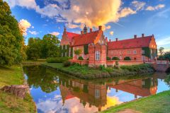 Trolle-Ljungby Castle in southern Sweden. Architecture ot the Trolle-Ljungby Castle in southern Sweden at sunset Stock Photography