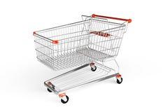 Trollej de las compras aislado en el fondo blanco Imagenes de archivo