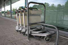 Trolley. Line up in airport Stock Photography