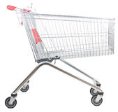 Trolley. Metal shopping trolley isolated on white background Royalty Free Stock Images