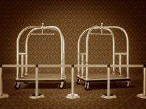 Trolley. Hotel  trolley for transfer suitcase in a sephia style Stock Image