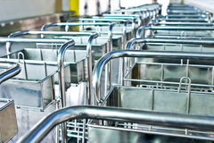 Trolley. Whole row of airport trolleys Royalty Free Stock Images