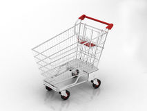 Trolley. Shopping chart with white background Royalty Free Stock Photo