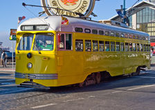 Trolley. An electric trolley passing by Fisherman's Wharf Royalty Free Stock Images