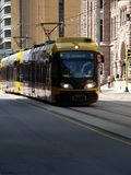 Trolley. Downtown trolley cars,an electric train,cable cars Stock Photo