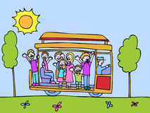 Trolley. People ride a trolley on a beautiful day vector illustration