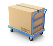 Trolley with box. Blue trolley with big brown box on white background - 3D illustration Royalty Free Stock Images