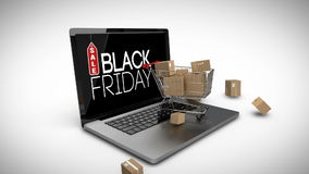 Trolley with boxes on laptop displaying black Friday sale sign stock video footage