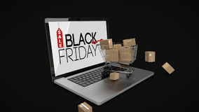 Trolley with boxes on laptop displaying black Friday sale sign stock footage