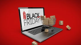 Trolley with boxes on laptop displaying black Friday sale sign stock video
