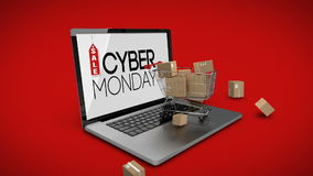 Trolley with boxes on laptop displaying cyber Monday sale sign stock video footage