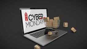 Trolley with boxes on laptop displaying cyber Monday sale sign stock video
