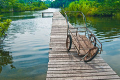 Trolley on the bridge. And forest at the estuary of a river Royalty Free Stock Image
