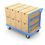 Trolley with boxes. Trolley with brown boxes - 3D illustration Royalty Free Stock Images