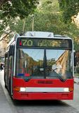 Trolley-bus. Red trolley-bus in Budapest (Hungary) at stopping place royalty free stock images