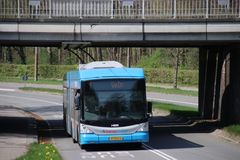 Trolley bus in Arnhem, bus is coming from Oosterbeek and driving with electricity cables. In the Netherlands royalty free stock photo