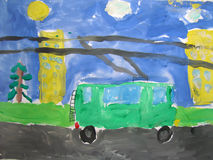 Trolley bus in the city - painted by child Stock Images