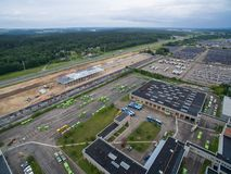 Trolley and bus depot in Kaunas, Lithuania. Aerial view. A lot of green trolley from above. Aerial view of bus deport in Kaunas, Lithuania Stock Photos