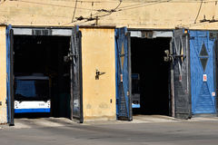Trolley bus depot Stock Photography