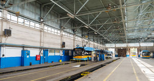 Trolley and bus depot and workshop Royalty Free Stock Photos
