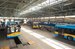 Trolley and bus depot and workshop Stock Photos